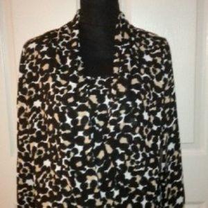 VINCE CAMUTO Leopard Print Wrap Shirttail Blouse